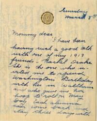 Letter from Jane W. Cary, Wellesley, Massachusetts to Mrs. Wren B. Cary, Windsor, Connecticut, 1914 March 8