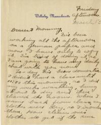 Letter from Jane W. Cary, Wellesley, Massachusetts to Mrs. Wren B. Cary, Windsor, Connecticut, 1914 March 13