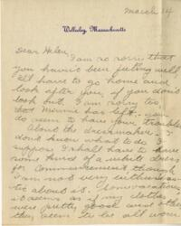 Letter from Jane W. Cary, Wellesley, Massachusetts to Helen Cary, Windsor, Connecticut, 1914 March 14