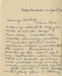 Letter from Jane W. Cary, Wellesley, Massachusetts to Mrs. Wren B. Cary, Windsor, Connecticut, 1914 April 24