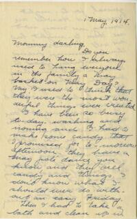 Letter from Jane W. Cary, Wellesley, Massachusetts to Mrs. Wren B. Cary, Windsor, Connecticut, 1914 May 1