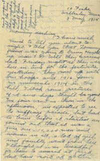 Letter from Jane W. Cary, Wellesley, Massachusetts to Mrs. Wren B. Cary, Windsor, Connecticut, 1914 May 3