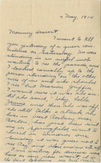 Letter from Jane W. Cary, Wellesley, Massachusetts to Mrs. Wren B. Cary, Windsor, Connecticut, 1914 May 4
