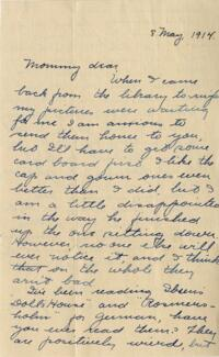 Letter from Jane W. Cary, Wellesley, Massachusetts to Mrs. Wren B. Cary, Windsor, Connecticut, 1914 May 8