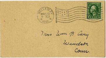Postcard from Jane W. Cary, Wellesley, Massachusetts to Mrs. Wren B. Cary, Windsor, Connecticut, 1914 May 23